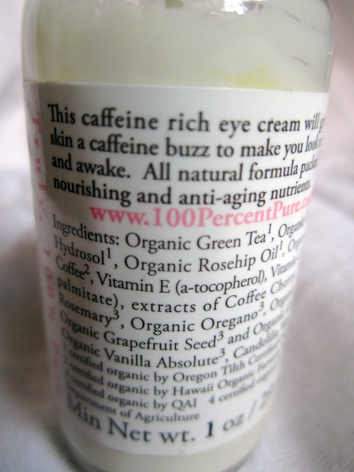 100 pure eye cream review