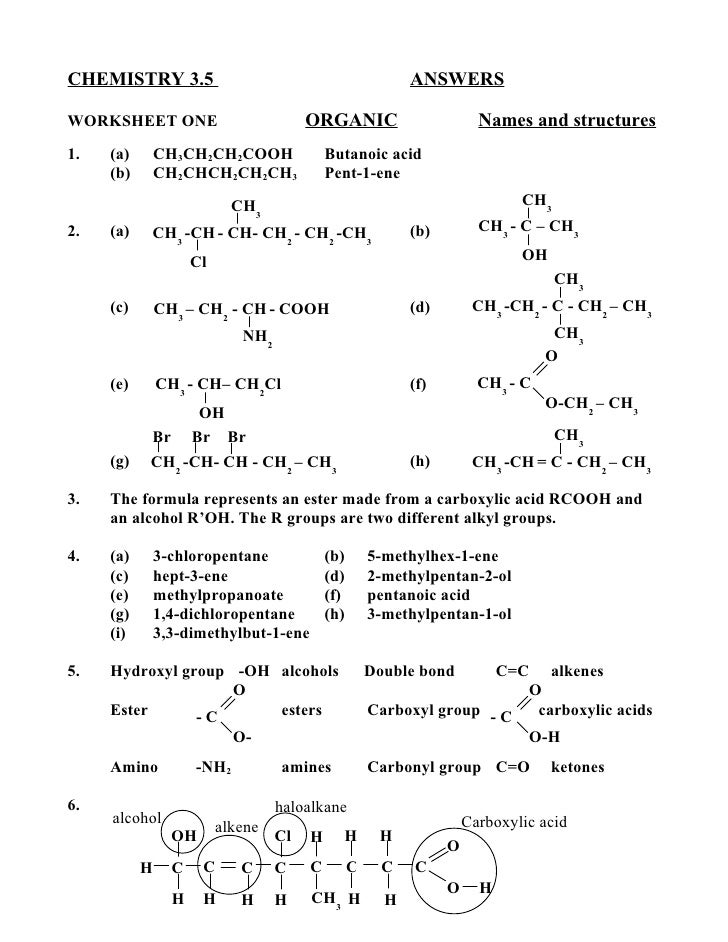 organic chemistry review packet answers