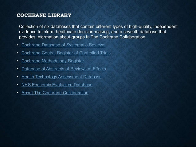cochrane database of systematic reviews journal